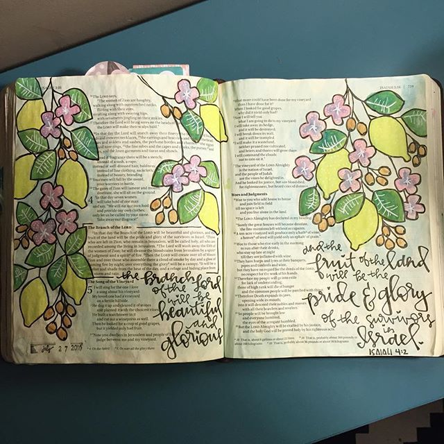 Isaiah 4:2.  VBS week has had me all  and I've missed my Bible Journaling. But God is good and I'm soaking up these incredible promises in Isaiah.  #Illustratedfaith #illustratedfaithcommunity #biblejournaling #biblejournalingcommunity #journalingbible #journalingbiblecommunity #illustration #watercolor #handlettered #moderncalligraphy #uniballsigno #branch #lemons #lemontree #lemon #flowers #botanical #beauty #glory #standingonthepromisesofgod