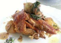 coscia d'agnello al forno con carciofi e salsa menta
