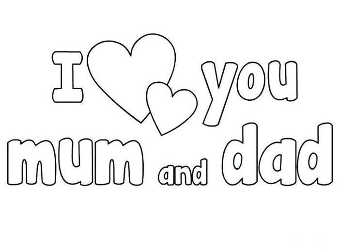 I Love You Mom And Dad Coloring Pages In 2020 Mom Coloring Pages I Love You Mum I Love Daddy