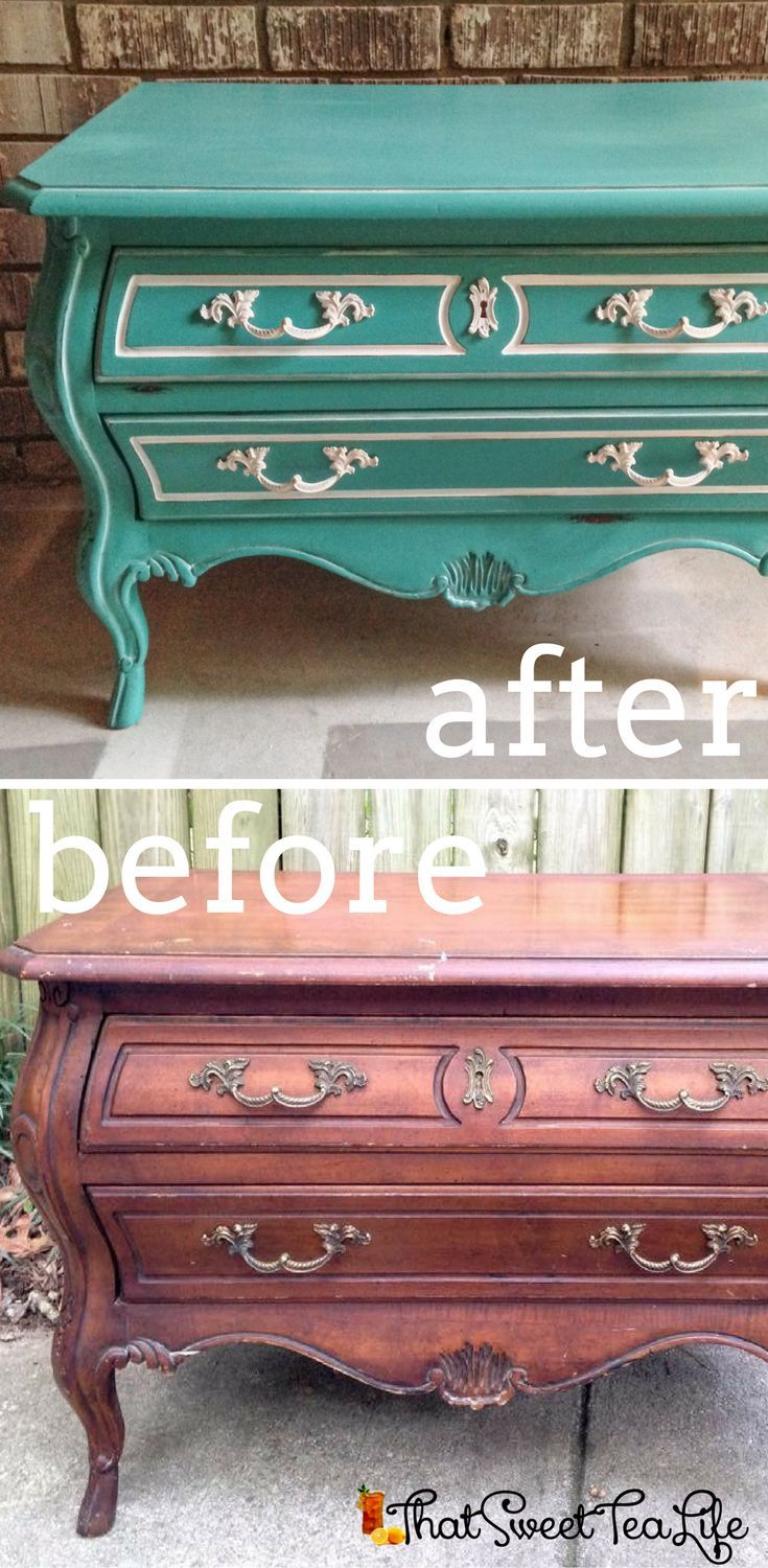 Gorgeous Blue Teal Bombe Chest makeover by That Sweet Tea Life | Painted Furniture Ideas | Painted Furniture Before and After | Painted Furniture Colors | Teal Painted Dresser | Colorful Accent Furniture
