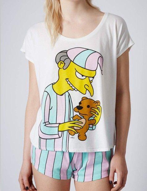 nouvelle arrivée modal matériel bonbon sucré dépouillé simpson pyjamas avec mr burns mignon imprimé top quality hot vente dans Pyjamas de Vêtements & accessoires sur AliExpress.com | Alibaba Group