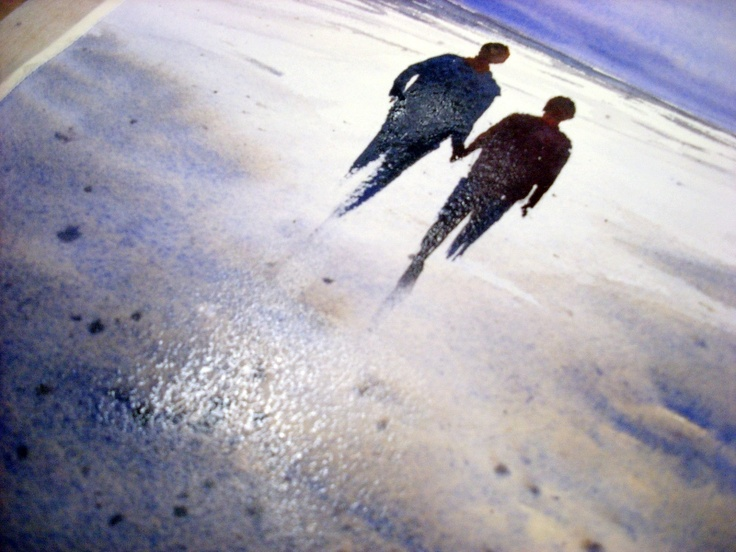 painting-reflections-of-figures-walking-on-sand.jpg 800×600 pixels