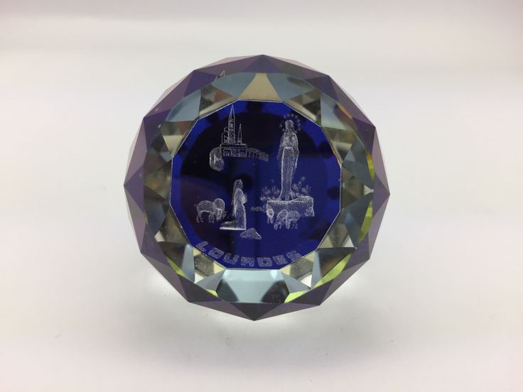Lourdes Color 3-D Crystal Paperweight.