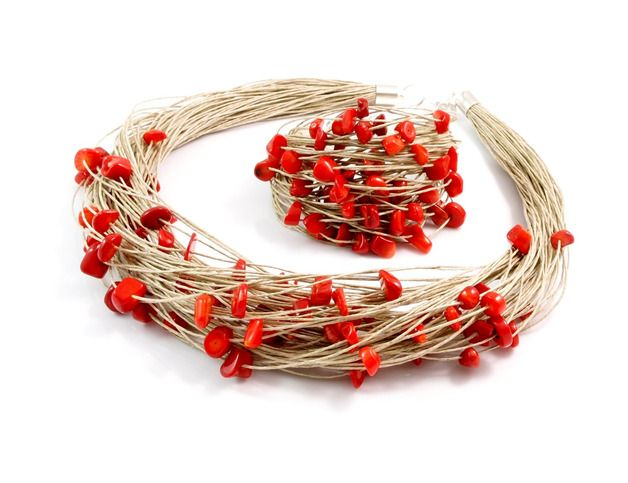 Necklace with coral nuggets