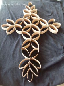 Wall Art / Cross made out of toilet paper Rolls!1