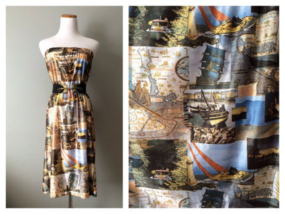 Vintage Photo Print jurk rok nautische piraat schip zeilboot