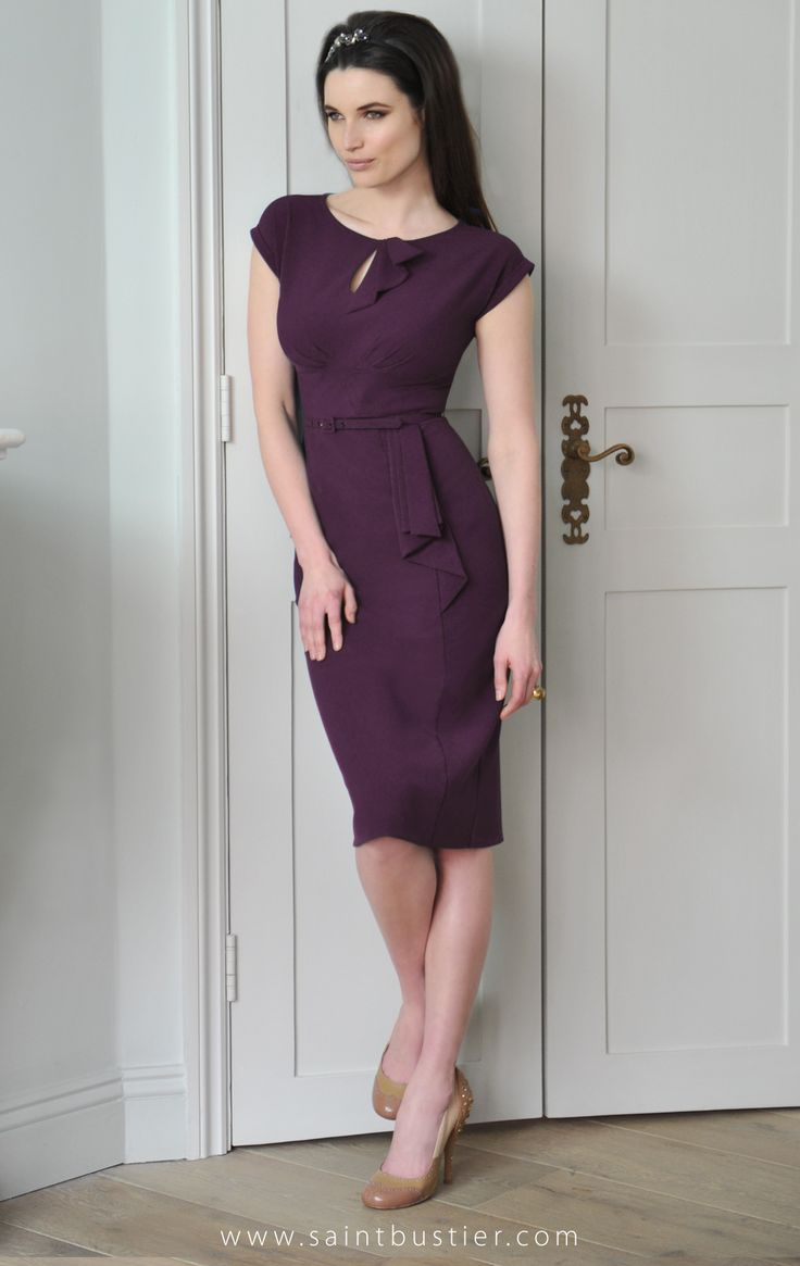 The Rita Dress in aubergine, as worn by Holly Willoughby in green and Kat Dennings in red. Shop online for high fashion for busty women, from C to G cup bust size dresses, tops, jackets, coats & bikinis.