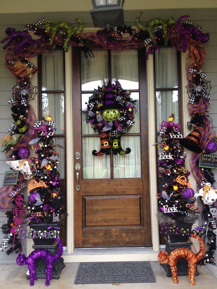 90 best Front Door Decorations images on Pinterest Front door - decorating front door for halloween