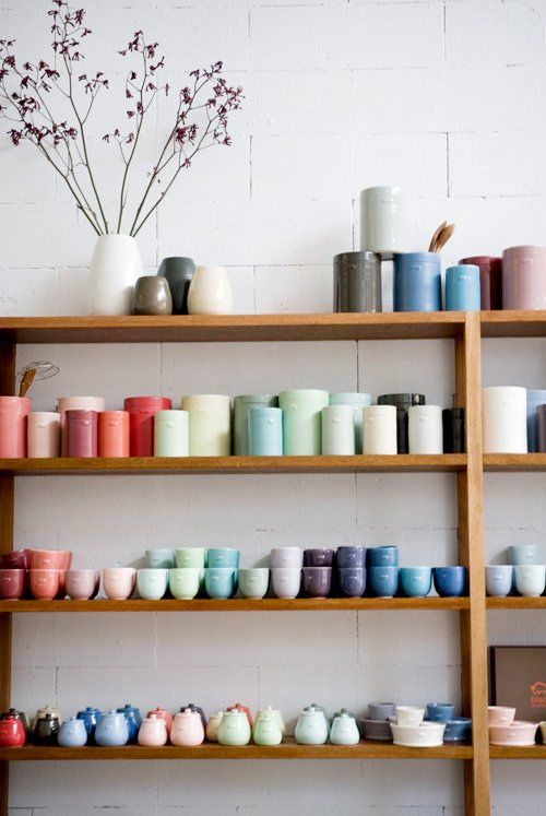 Bison ceramics - they have several shapes and colors that can be ordered online. I'm liking the mixing bowls.