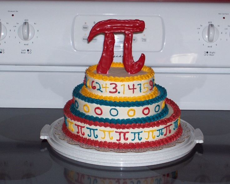PI Day Cake - I helped my cousin's little girl make this for PI Day.  I baked it and iced it for her and she decorated it.  The PI symbol is made out of candy melts.  Her teacher accused them of buying the cake!!