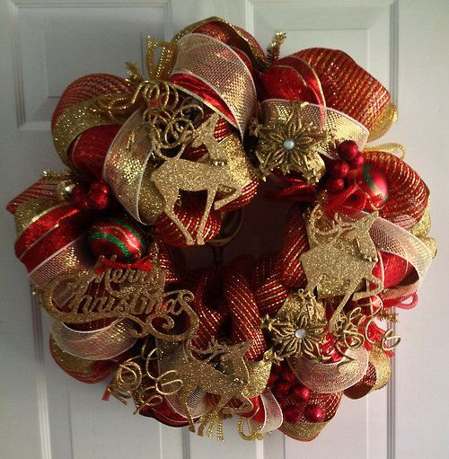 red and gold burlap christmas tree
