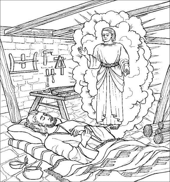 Joseph and the angel coloring page