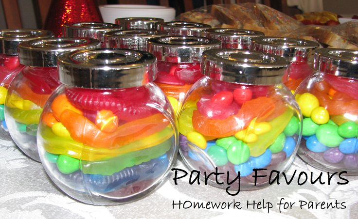 Party Favours - Take a small jar and fill with lollies in a Rainbow pattern.
