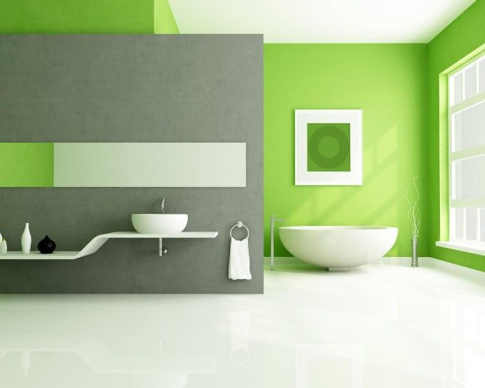 Minimalistic Spacious Bathroom With Light Green And Medium Grey