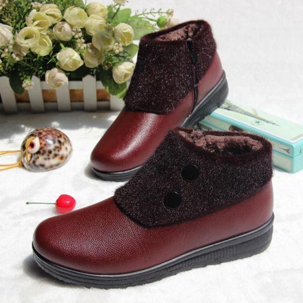 Women Winter Waterproof Slip On Ankle Fur Lining Warm Flat Boots