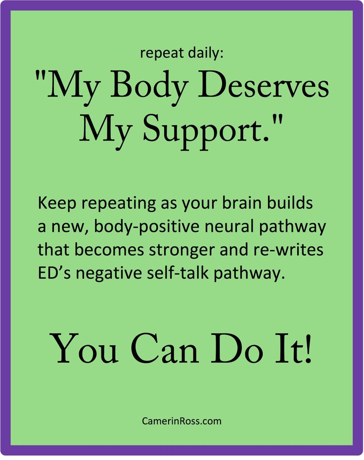 "repeat daily: ""My Body Deserves My Support."" Pinned by CamerinRoss.com"