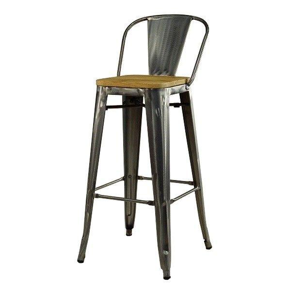 Bistrobarhocker mit Holzsitz und Rücklehne #barhocker #gastro #industrial #metall #cafehocker #vintage #retro #burgerhouse #design