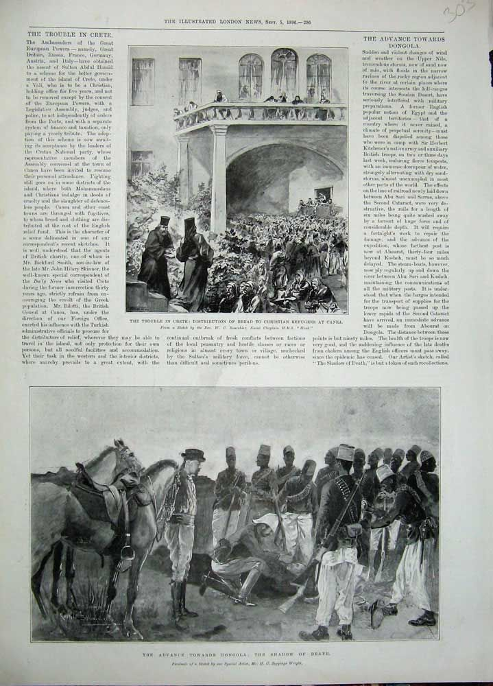 Antique Print 1896 Crete Christian Refugees Canea Dongola Army Death