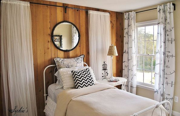 girls budget bedroom makeover, bedroom, design d cor, Working around existing wood paneled wall I softened the look for a young girl with in...