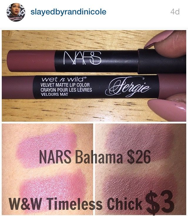 Wet n Wild Timeless Chick dupe for Nars Bahama wnw lipstick