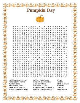Pumpkin Day- Morning Work- Word Search- Halloween