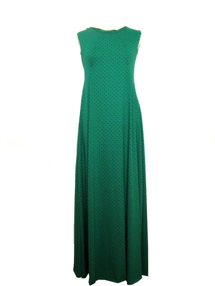 summer casual dress (green with black dots)