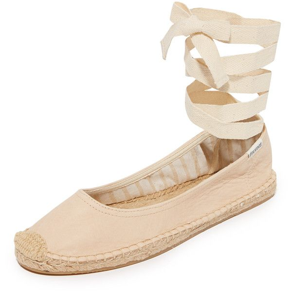 Soludos Ballet Tie Up Flats ($100) ❤ liked on Polyvore featuring shoes, flats, nude, leather ballerina flats, platform shoes, soludos espadrilles, nude flat shoes and ballet flat shoes