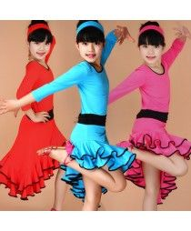 Black fuchsia turquoise red patchwork colored girls kids child children toddlers long sleeves round neck irregualr hem leotard skirts  practice competition latin ballroom cha cha dance dresses