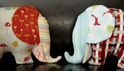 I have too many stuffed animals already, but I really want to make these elephants!  Free pattern.