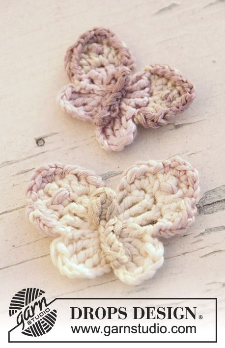 "Crochet DROPS butterfly in ""Cotton Viscose"". ~ DROPS Design"