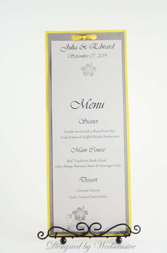 Yellow+and+Grey+dinner+menu+card++yellow+and+grey+by+Wedsclusive,+$4.00