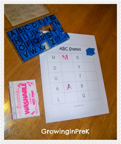 This site has the FREE printable letter templates.  Just add ink pad and stamps and you have another great ABC center activity.