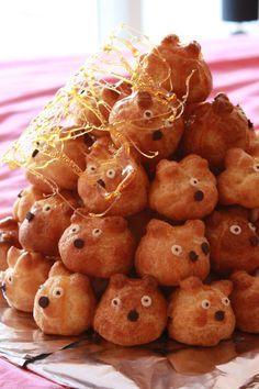 """""""Monsters"""" Gâteau d'anniversaire: pièce montée de choux à la vanille  Birthday cake"""