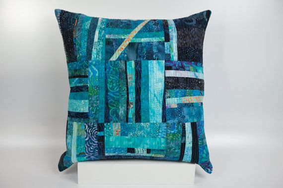 Quilted Pillow Modern Patchwork Pillow Quilted 20 by btaylorquilts