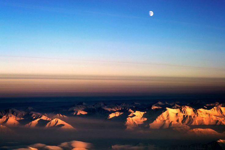 Moon over northeast Greenland