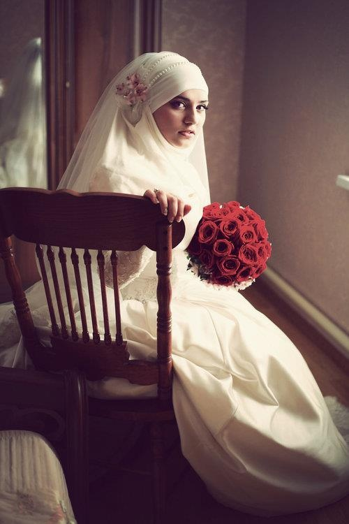 i just have to pin this, its not me but there's somthing about it.  -  Wedding hijab <3
