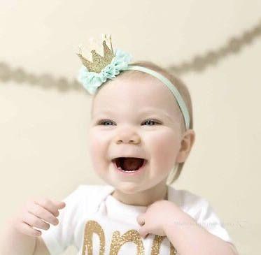 MINT AND GOLD Crown Headband, Crown Headband, Birthday Crown, Smash Cake Headband, Mint Crown Headband, Princess Crown, 1st Birthday, Crown by LilPinkGoose on Etsy