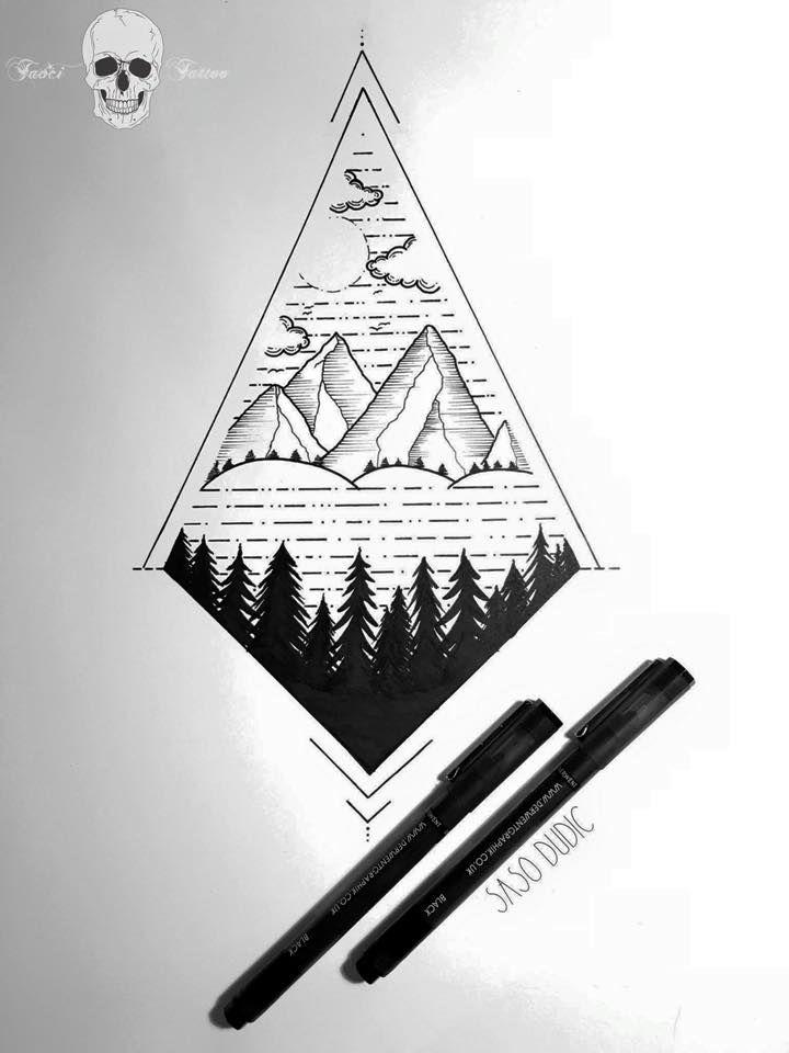 Gorgeous mountain tattoo by Tavci Tattoo in Slovenia