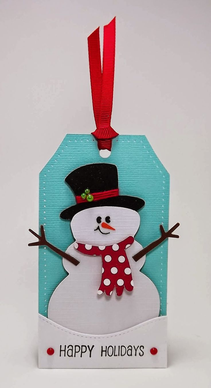 handmade Christmas tag from Manitoba Stamper ... snowman ... die cuts and punches ... crisp and bright ... luv it!