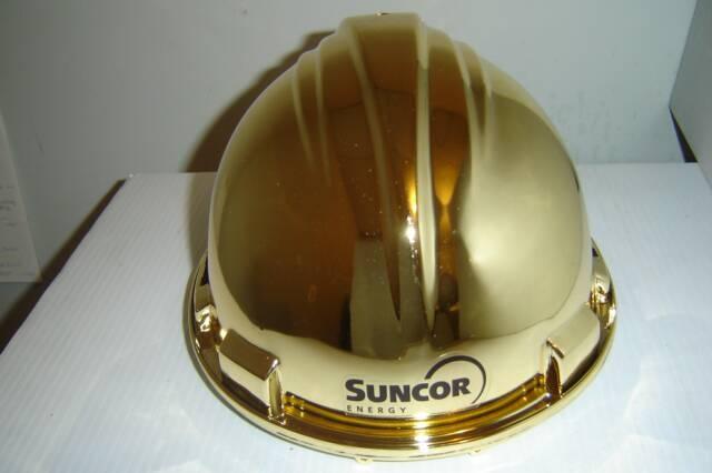 Gold presentation hard hat with a Suncor logo www.logosonstuff.ca