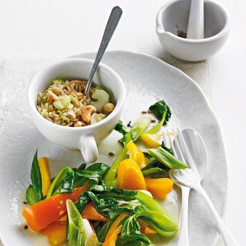Kokos-PakChoi mit Cashew-Reis