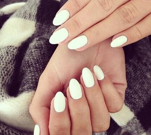White, almond shaped nails