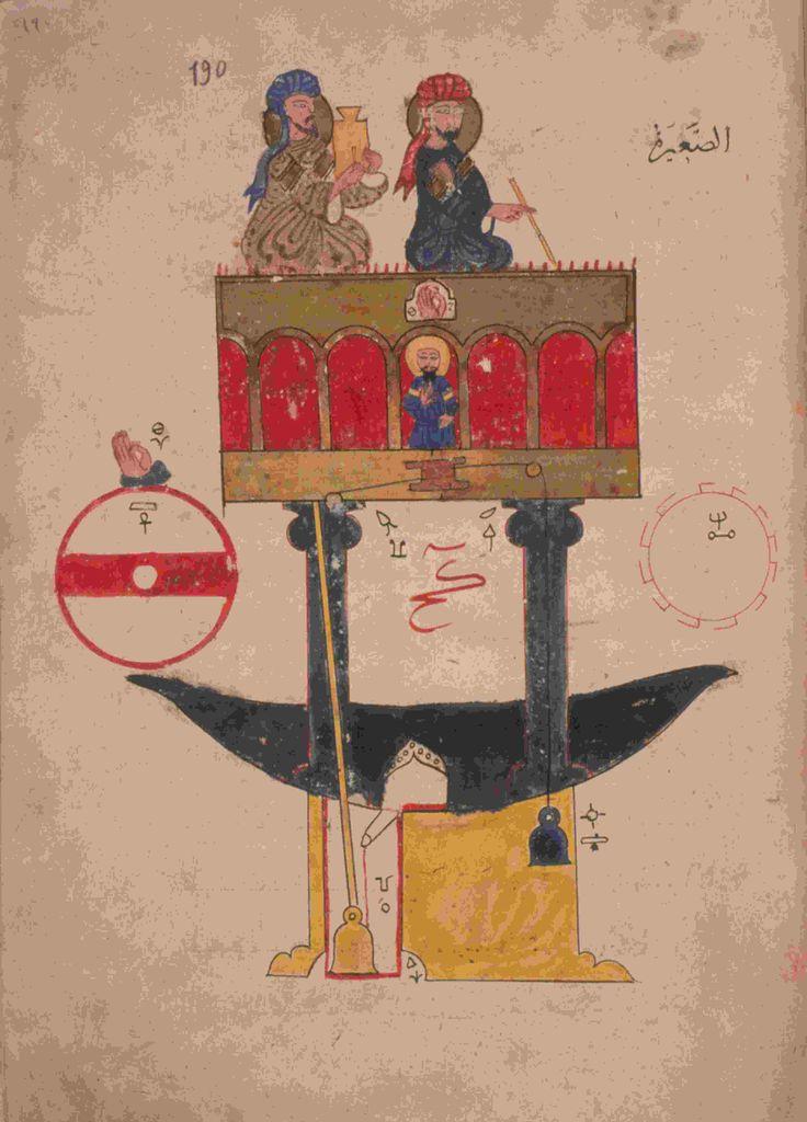 An automatic clock design from al-Jazarî's book, al-Jamiu bayn al ...