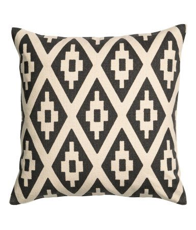 Printed Cushion Cover | Natural white/charcoal gray | Home | H&M US