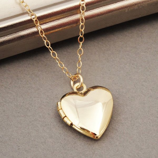 Heart Locket Necklace, Gold Heart Locket, Tiny Heart Locket, Simple... ($26) ❤ liked on Polyvore featuring jewelry and necklaces