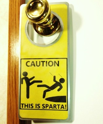 CAUTION THIS IS SPARTA! Door Sign Great for Game Rooms Nintendo Wii XBOX PS3 or PC on eBay