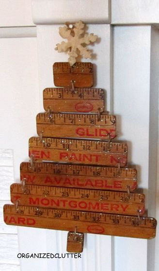 Turn an old yardstick into a sweet Christmas tree!