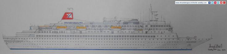 #HarryCotterill #drawing of #FredOlsenCruiseLines #BlackWatch #Cruise
