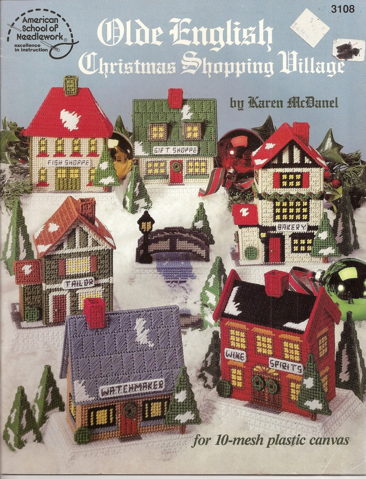 Old English Christmas Shopping Village Plastic Canvas American School Needlwork - Plastic Canvas Patterns $15.99