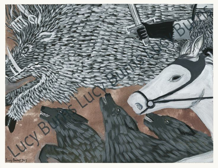 """by Lucy Burns www.lucyburns.blogspot.co.uk """"The twrch trwyth"""" from The Mabinogion"""